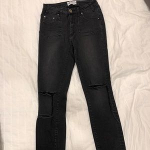 One Teaspoon distressed black high waist jeans